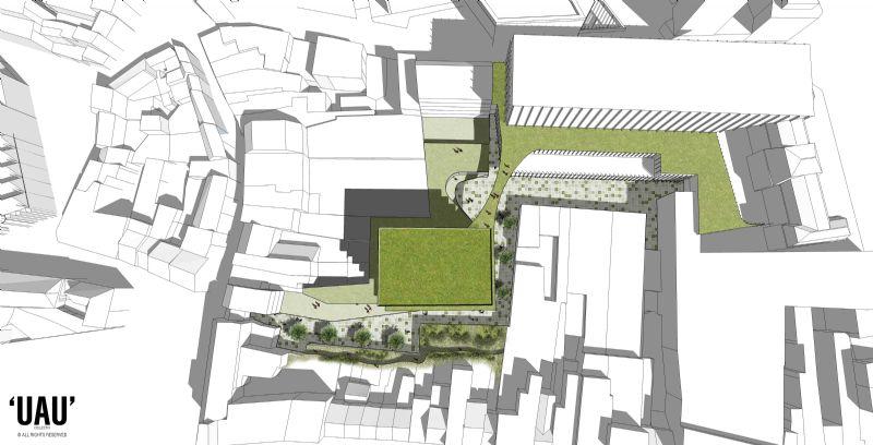UAU Collectiv hertekent de galerij met een groene buitenruimte die de doorwaadbaarheid van het centrum maximaliseert.