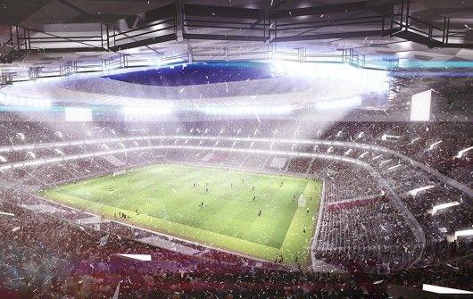 Het stadion langs de binnenkant