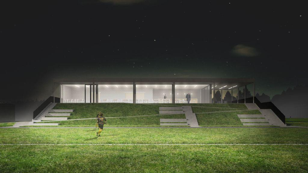"""""""Onze aanpak bij het ontwerp van De Brugsche Rugbyclub werd sterk beïnvloed door de projecten Monte Rosa Hütte en 2226, Lustenau, Austria"""", vertelt Goetvinck."""