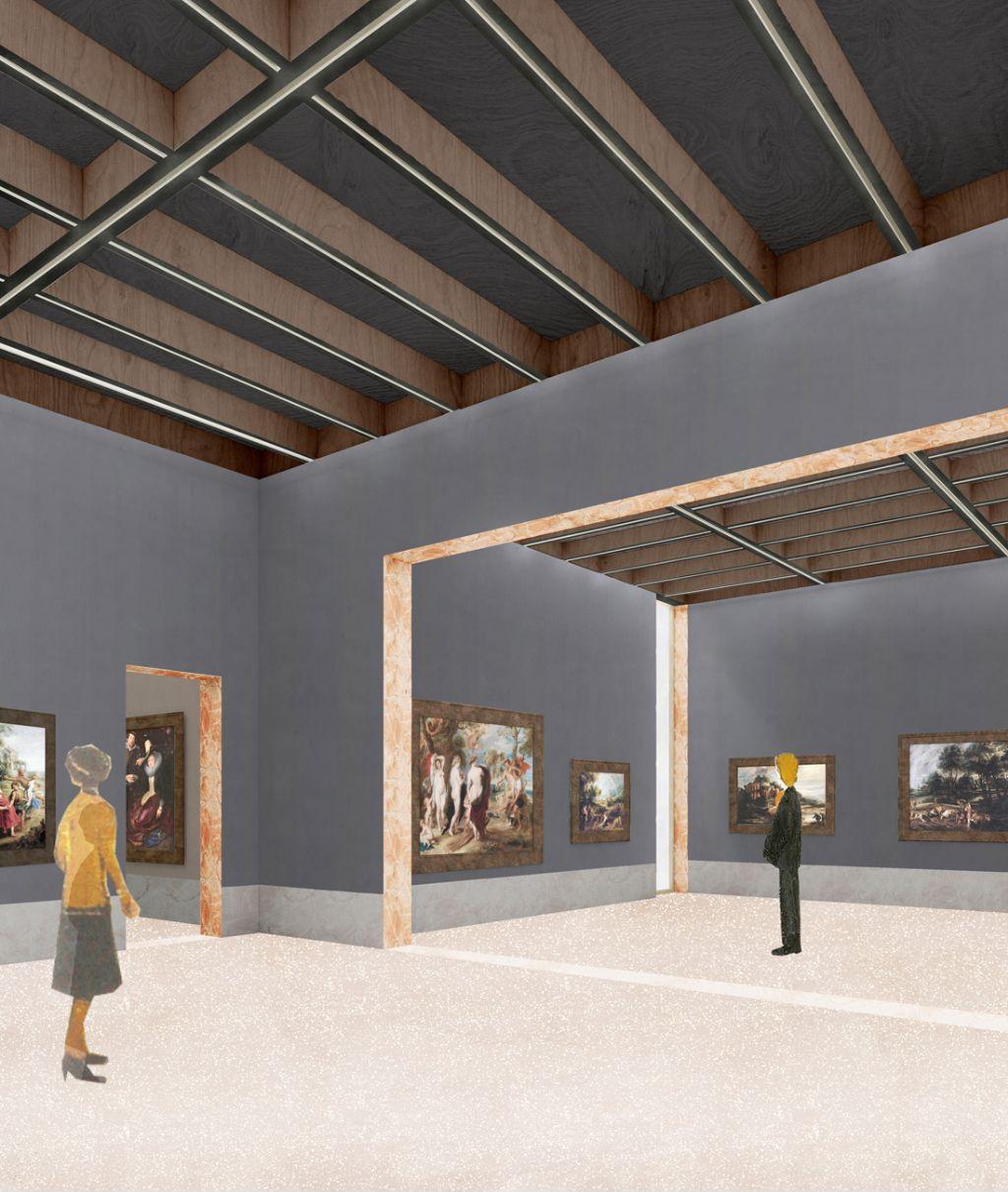 Blik in de tijdelijke tentoonstellingsruimte op de tweede verdieping. De ruimtes zijn museaal opgevat, maar behouden een huiselijk karakter.