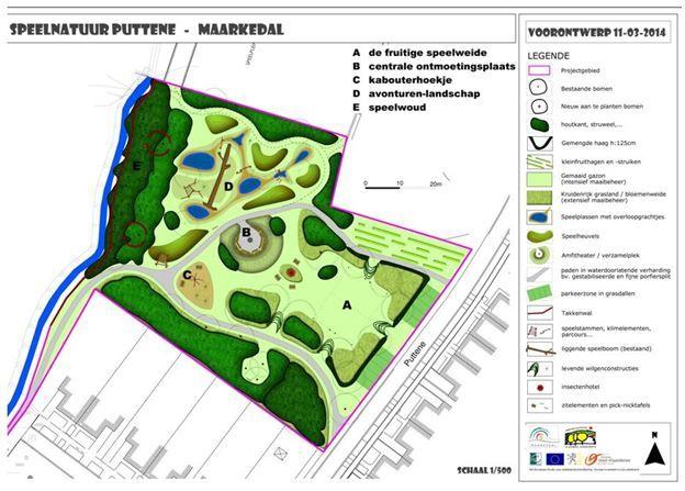 Het voorontwerp van het nieuwe natuurspeelplein in Puttene.