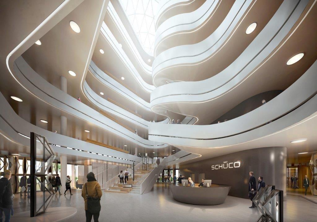 Visualisatie van het nieuwe hoofdkantoor van Schüco in het Duitse Bielefeld, dat volledig op de circulaire leest geschoeid is.