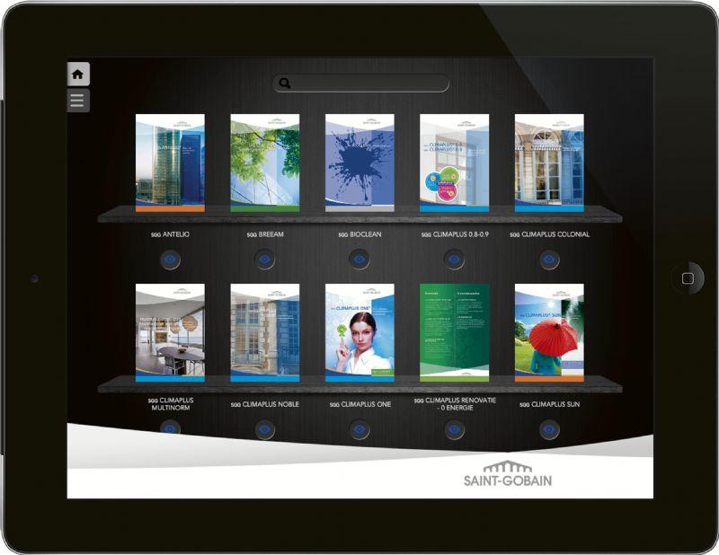 Avec l'app de Saint-Gobain Glass, découvrez une bibliothèque du verre complète sur votre tablette