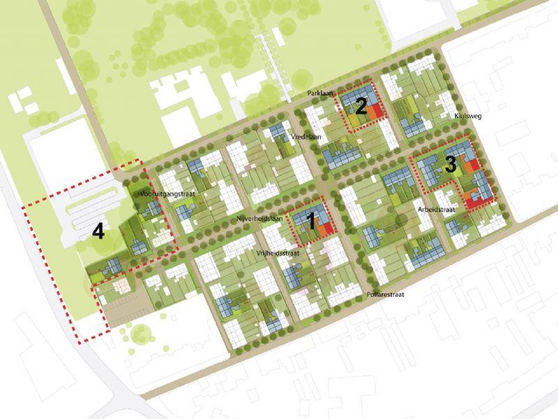Plan van de vernieuwing van wijk Pollare in Ninove.