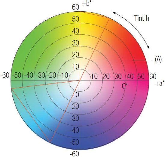 Doorsnede van de kleurruimte ter hoogte van een bepaalde L*-waarde.