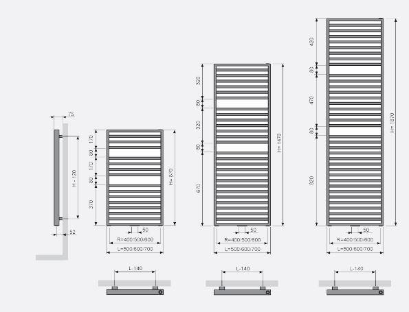 De Arche Bad radiator is in verschillende maten verkrijgbaar.