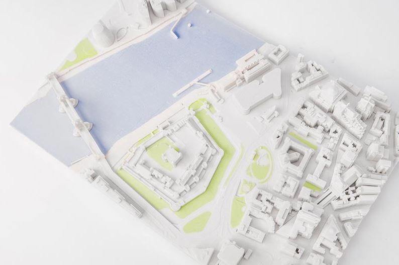 Een 3D print van een stadswijk.