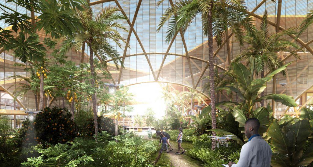 Renderings tonen grote glazen serres waar planten kunnen groeien