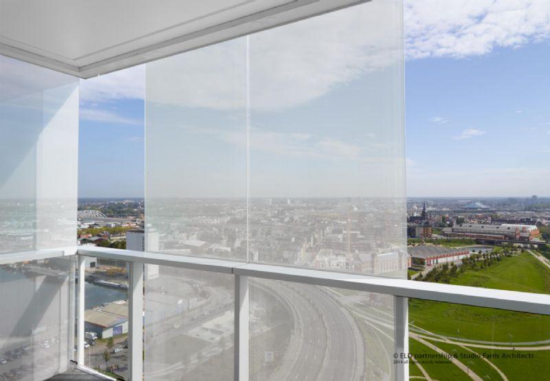 De architecten ontwierpen een bijzonder windweringsconcept.