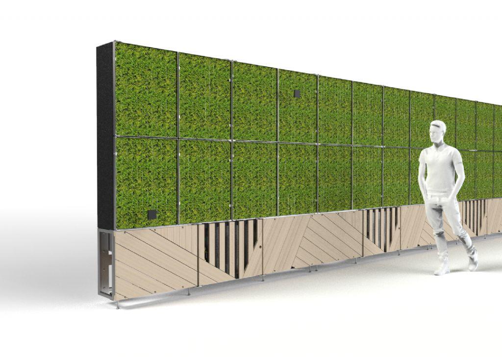 De BESIX Clean Air-moswand wordt in juli getest op een werf.