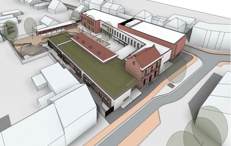 De bestaande, te renoveren gebouwen vloeien samen met de nieuwbouw tot de nieuwe school.