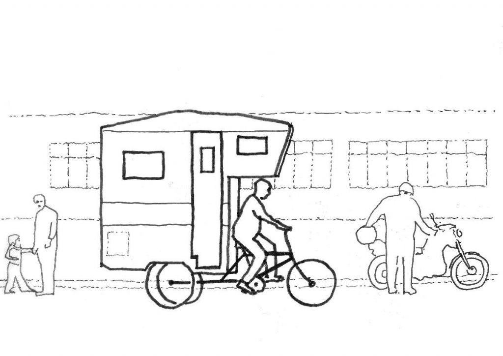 Dessin de Gilles Debrun inspiré du camper bike de Kevin Cyr, 2019