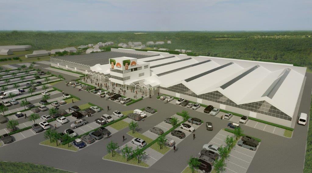 Het nieuwe tuincentrum is met 15.500 vierkante meter drie maal groter dan zijn voorganger. (Beeld: Architectenbureau Schepens)