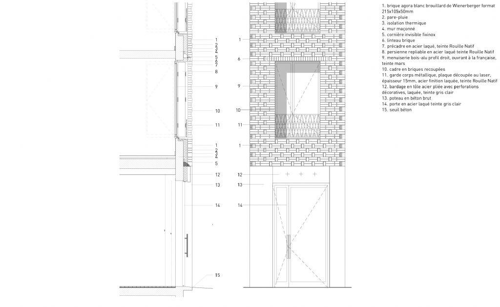 Détails : coupe et façade sur menuiserie Rue des Trois Frères.