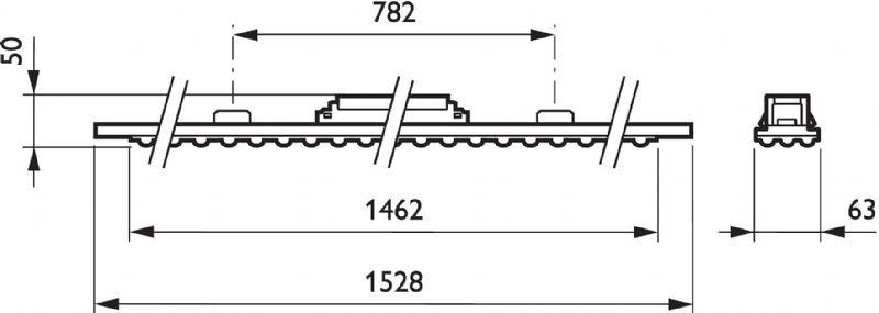 Een diagram van de armatuur.