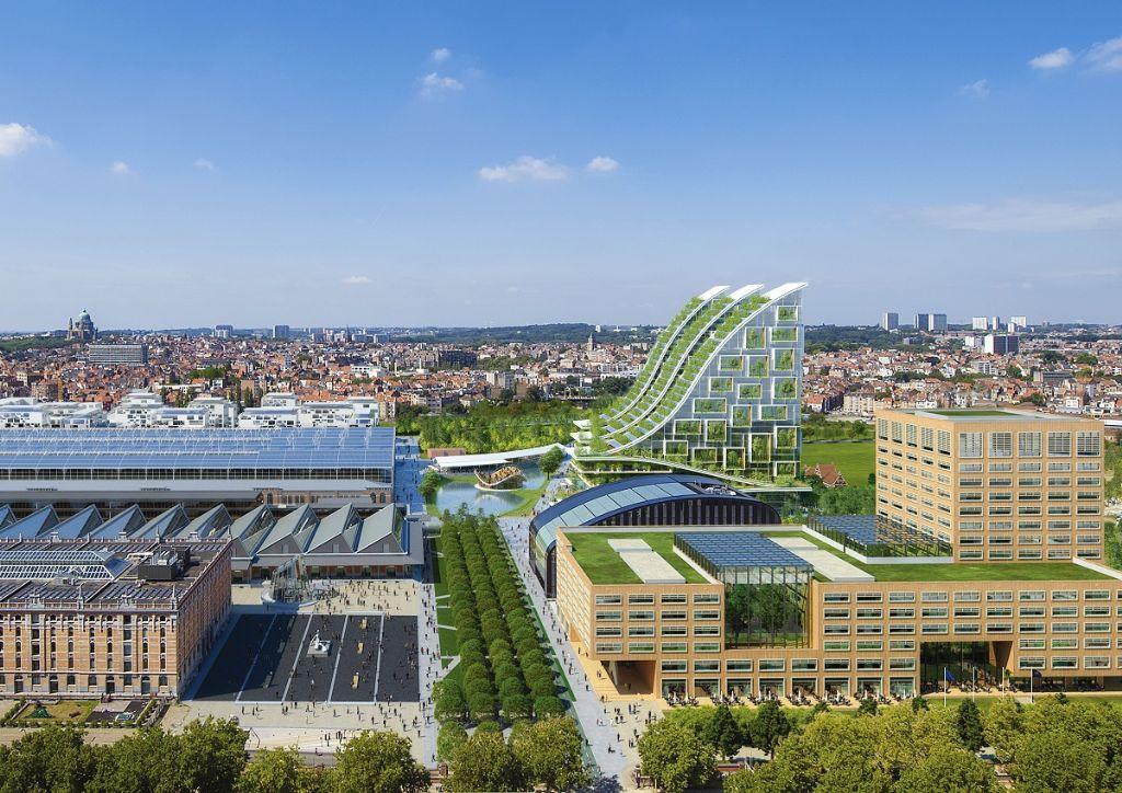 Sur cette vue, on distingue à peine le bâtiment de Bruxelles Environnement entre le nouveau centre de l'Administration flamande et les Sky villas de Vincent Callebaut