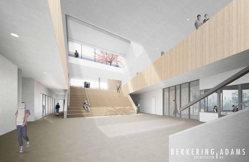 Het project omvat een nieuwbouw voor een middelbare school.