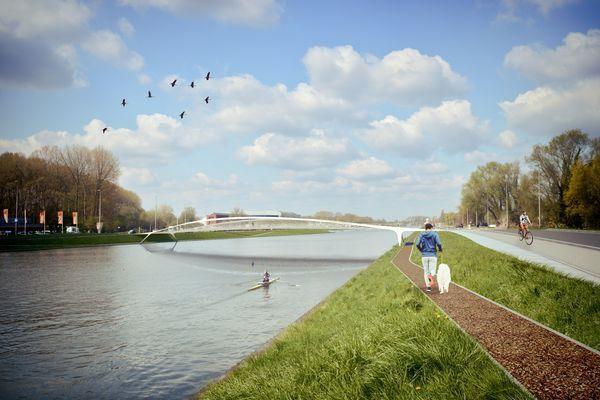 Nieuw ontwerp Ney & Partners voor brug over Watersportbaan in Gent