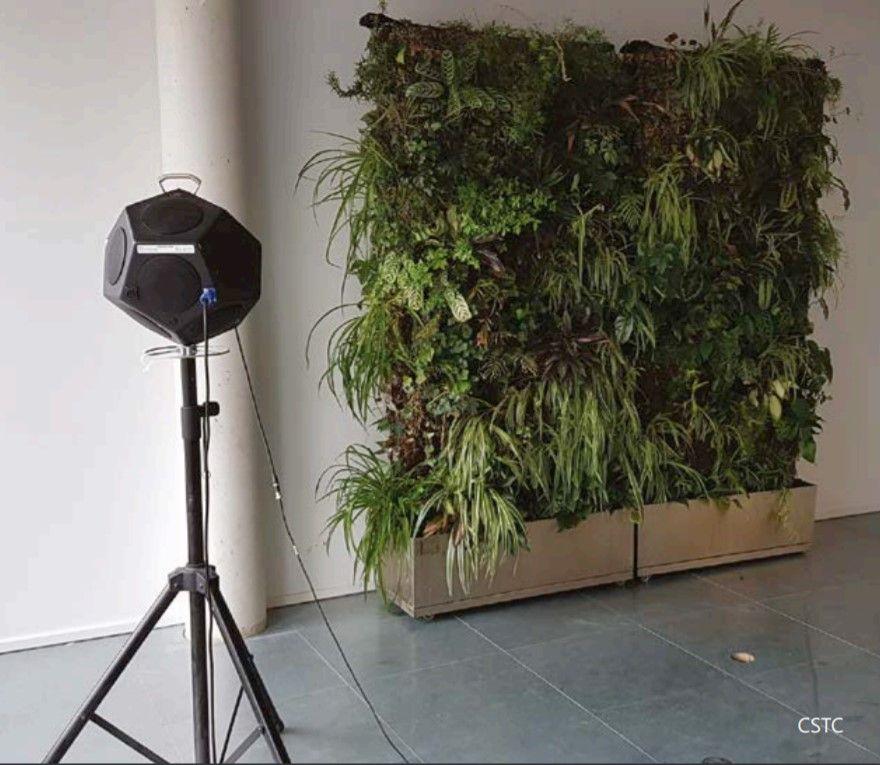 In-situbepaling van de geluidsabsorberende eigenschappen van een groene wand in een kantoor.
