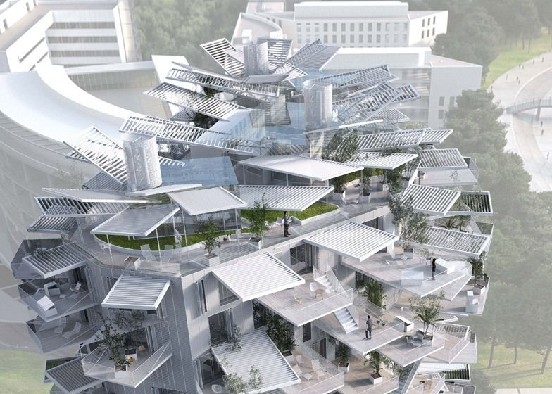 De terrassen kunnen tot 50% van het woonoppervlak in beslag nemen.