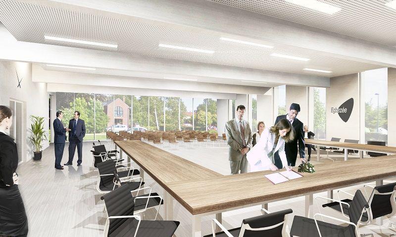 La salle du conseil est prévue ouverte sur l'espace public, grâce sa grande façade vitrée.
