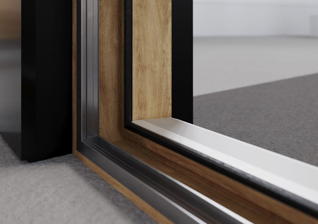 SYNEGO SLIDE is voorzien van een onderhoudsvriendelijk HDF-oppervlak en biedt meer dan 220 mogelijke kleur- en oppervlaktevarianten. Met een grijs basiselement en de aluminium voorzetschalen van de serie KALEIDO COVER kan een elegante aluminiumlook worden