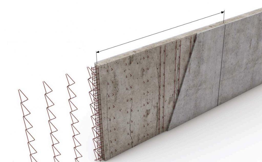 Armature du béton coulé in situ entre prémurs, et fissuration caractéristique.
