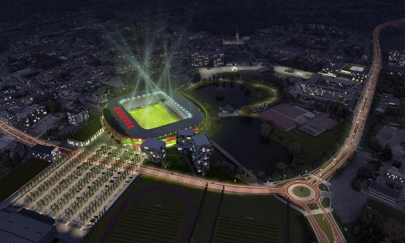 Het nieuwe stadion van SV Zulte Waregem, naar een ontwerp van goedefroo+goedefroo architecten.
