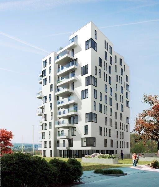 De façade van de Aleca-toren valt niet enkel op door haar levendige vorm en inrichting, maar evenzeer door haar spierwitte uiterlijk. (Foto: CONIX RDBM Architects)