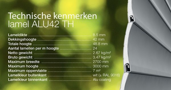De Alu 42 Thermo lamel heeft een speciale coating met reflecterende aluminiumdeeltjes