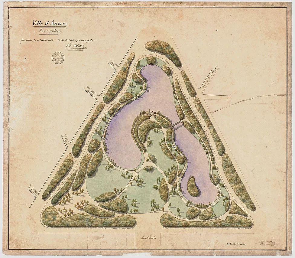 Eduard Keilig, uitvoeringsplan Stadspark, 1868