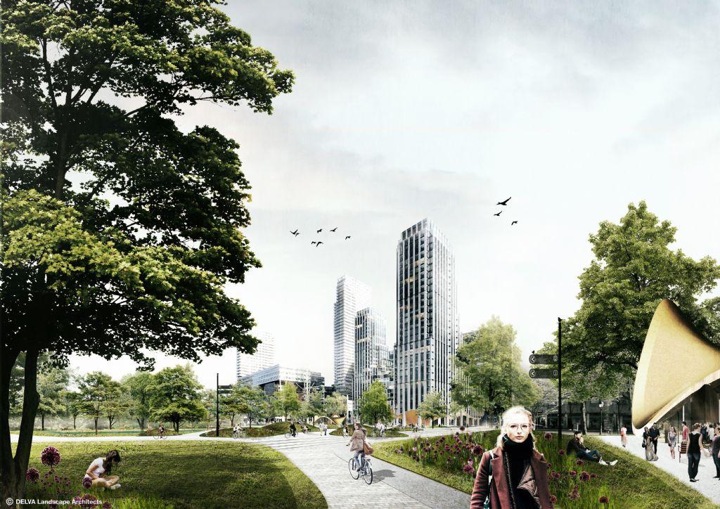 Zicht op nieuwe Stadshal vanuit het Stadspark.