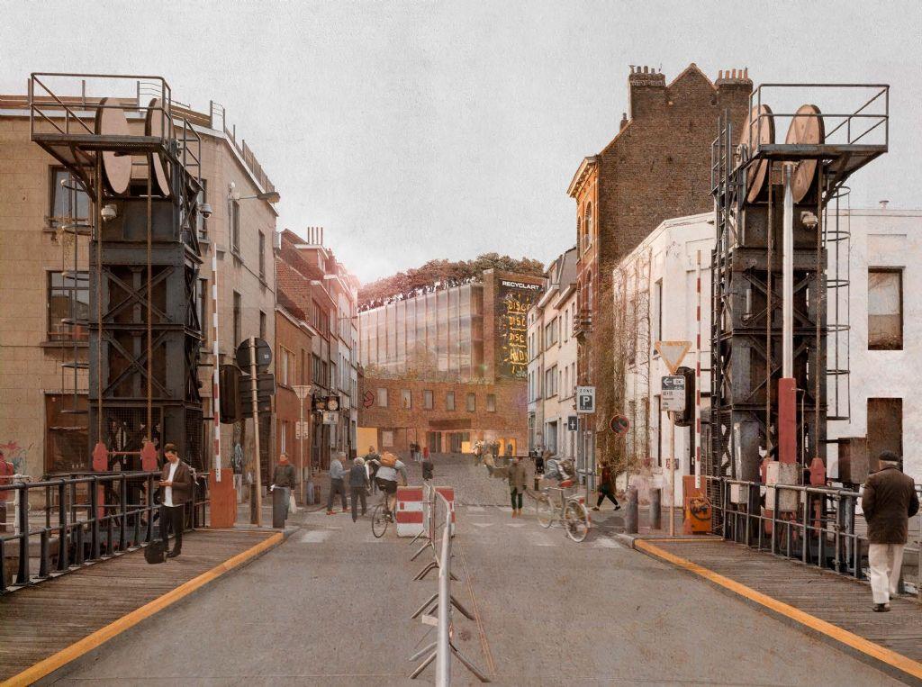 Simulatie van het gebouw gezien vanaf het kanaal.