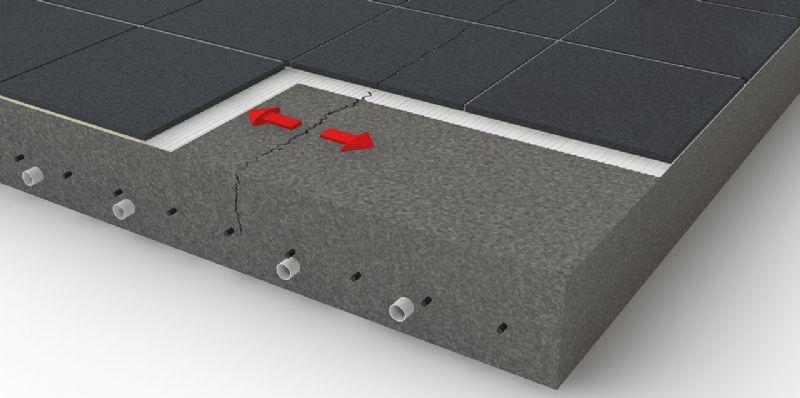 Zonder ontkoppelingssysteem zet scheurvorming in de dekvloer zich voort in de betegeling.