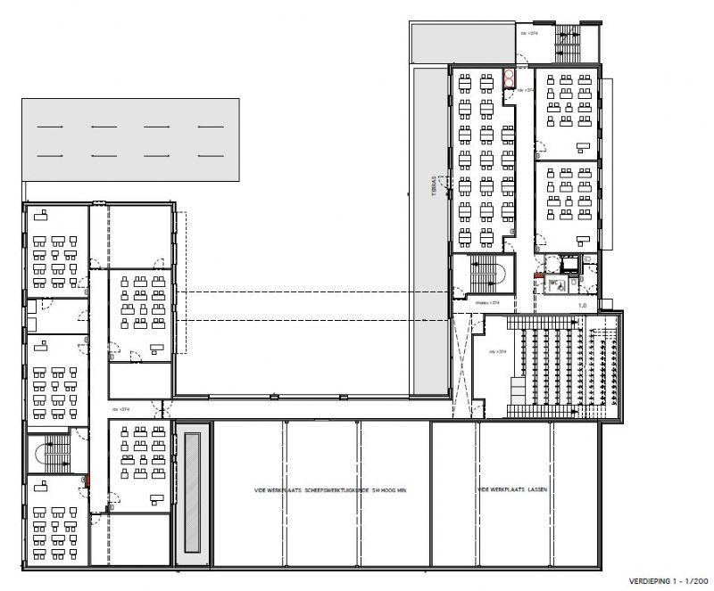 Grondplan van de eerste verdieping.