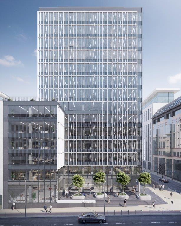 Aangezien de 55 meter hoge kantoortoren teruggetrokken is ingeplant, kan het aanpalende voetpad bovendien danig verbreed worden en kan er tevens een groen plein worden aangelegd.