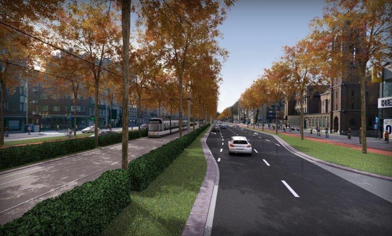 De Noorderleien worden van gevel tot gevel vernieuwd en krijgen hetzelfde wegprofiel als de Zuiderleien. (Beeld: Stad Antwerpen)