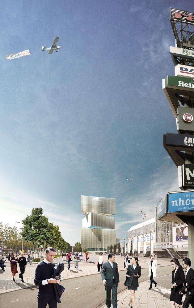 Gestapelde driehoekige volumes vormen OMA's Nhow Amsterdam RAI Hotel