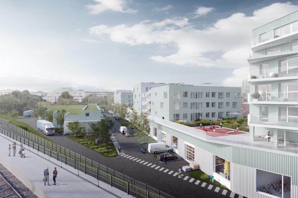 DDS+ kijkt reikhalzend uit naar de realisatie van Novacity, een gemengd complex (wonen, werken, publieke ruimte …) in Anderlecht. (Beeld: Pixelab)