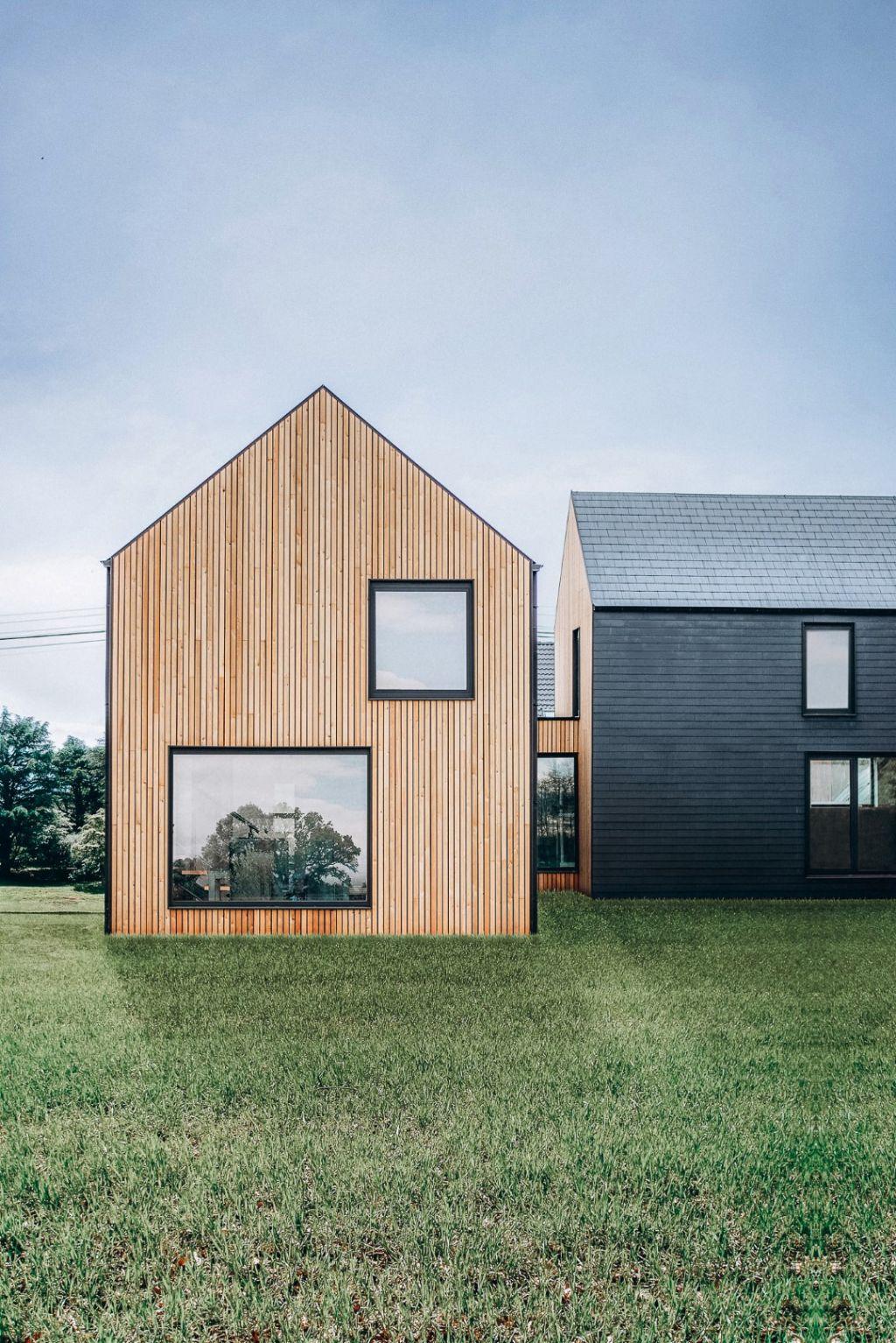 Light.house à Fernelmont, avec bardage bois et ardoise