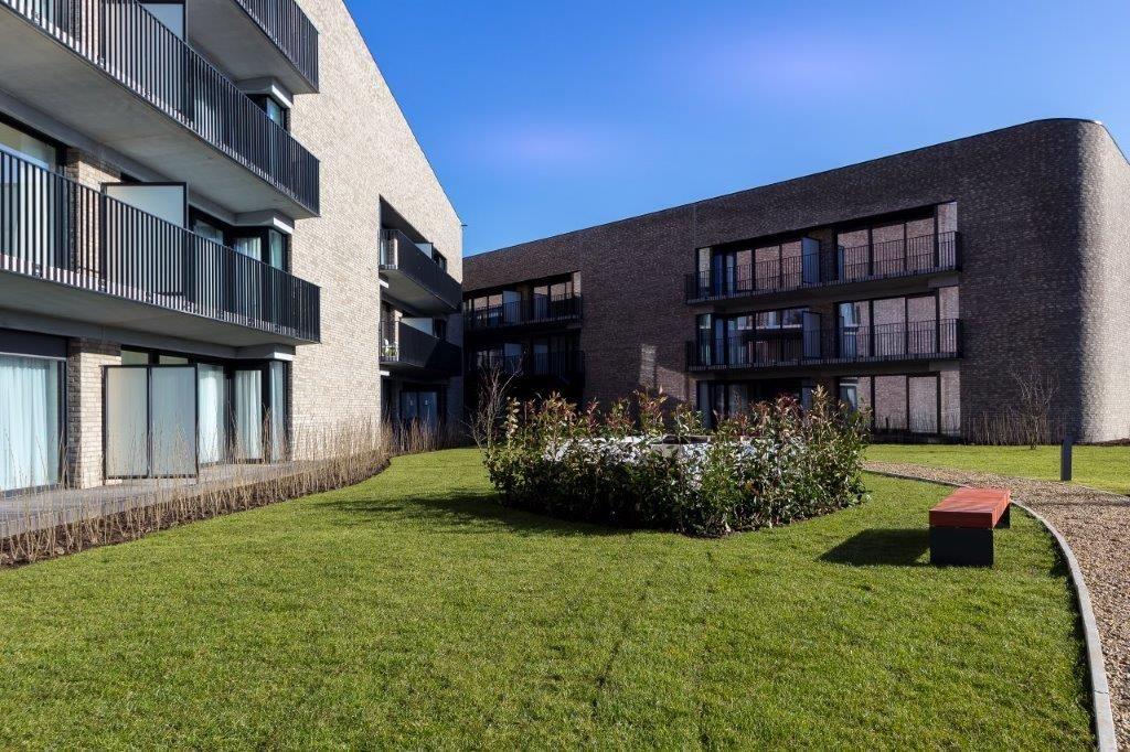 De zonovergoten binnentuin is een bijzondere troef voor de bewoners. (Ph. Hannon)