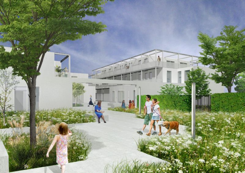 De fabrieksgebouwen krijgen een grote tuin en plein.