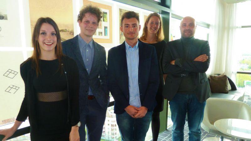 (Van links naar rechts) Nathalie Kavse, Philippe Breels en Robbe De Geyndt staken er met hun ontwerp met kop en schouders bovenuit.