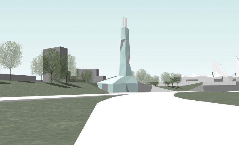 Aan de straatkant toont de toren groter. De basis is zichtbaar en een raam geeft de voorbijganger een blik op de technische installaties.