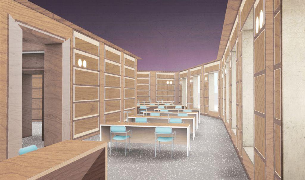 De leeszaal van het Rubenianum: een studiolo in trompe-l'oeuil multiplex.
