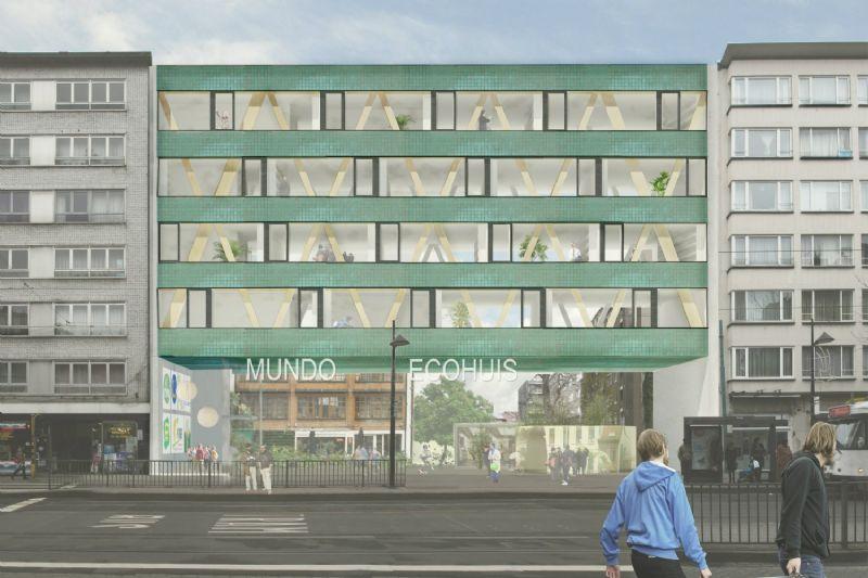 B-architecten ontwerpt bio-ecologisch passiefkantoor Mundo-a Antwerpen