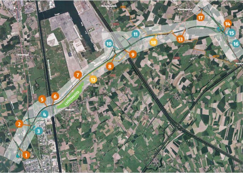 Het traject van de A11
