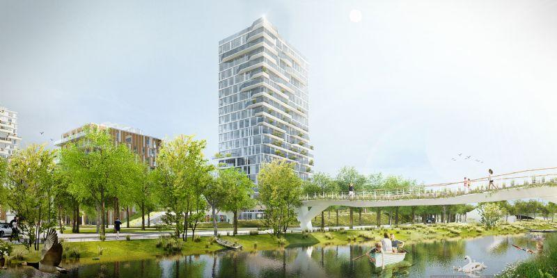 Zicht op de vergroende Rinkhoutbrug over de Leie naar de Blaarmeersen. Ontwerp: KCAP architects & planners / EVR-architecten / Omgeving