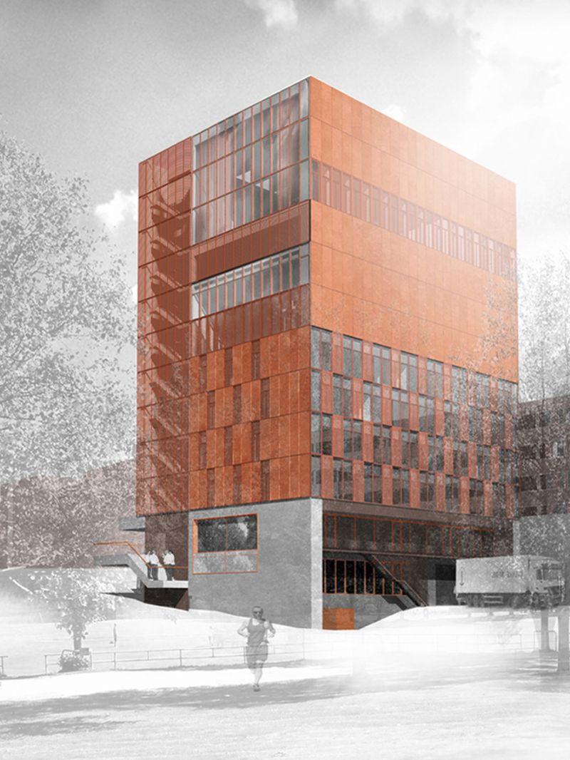 Alle doorlopende verticale elementen zoals liften, trappen en kokers zijn gegroepeerd in één smalle structuurzone die het gebouw windstabiliteit geeft