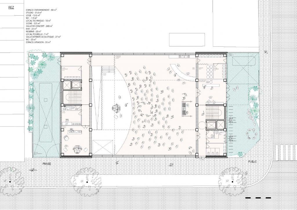 Plan van het gelijkvloers van het toekomstige gebouw.